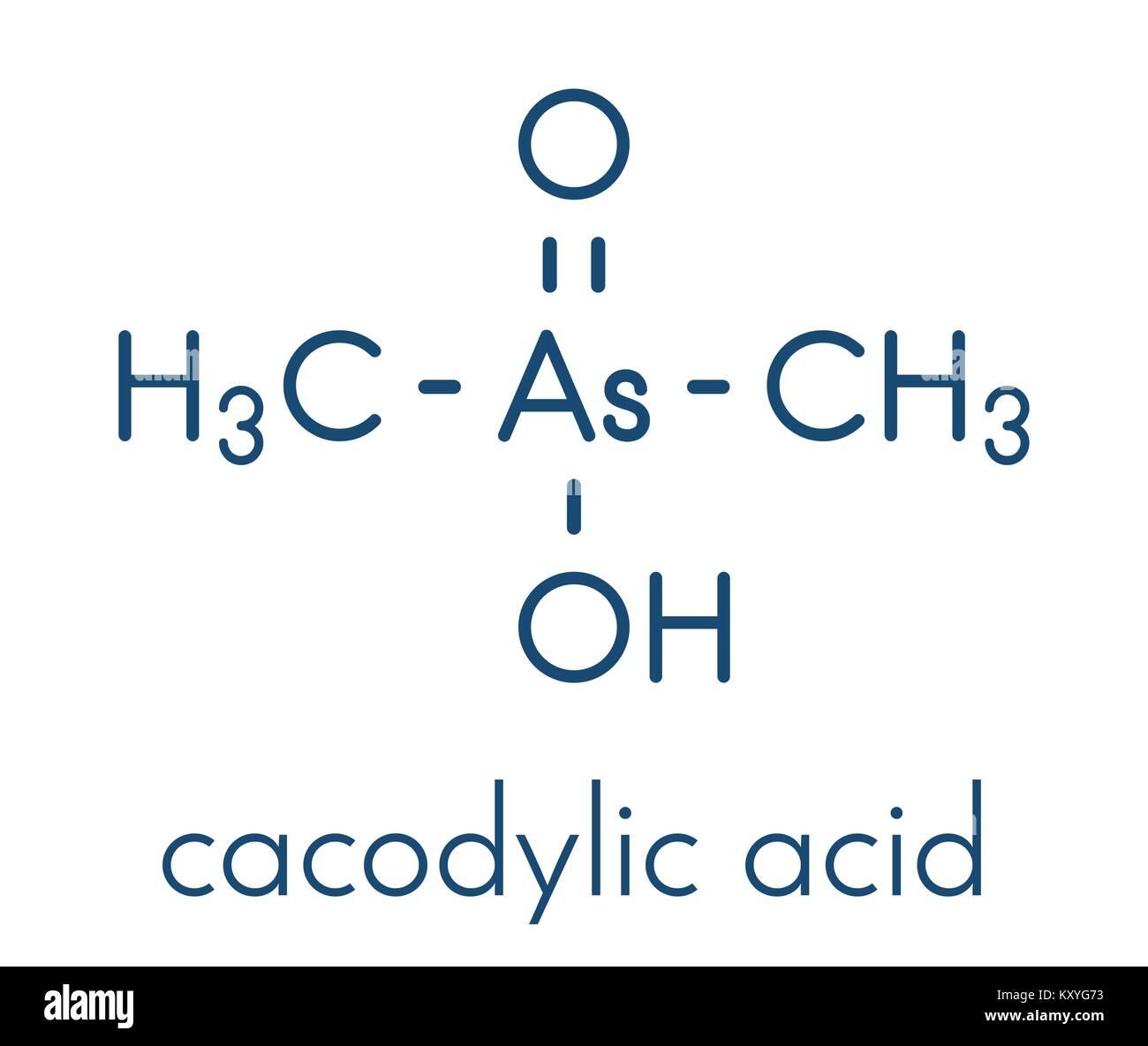 Cacodylic acid herbicide molecule (Agent Blue). Highly toxic organoarsenic compound. Skeletal formula. - Stock Vector
