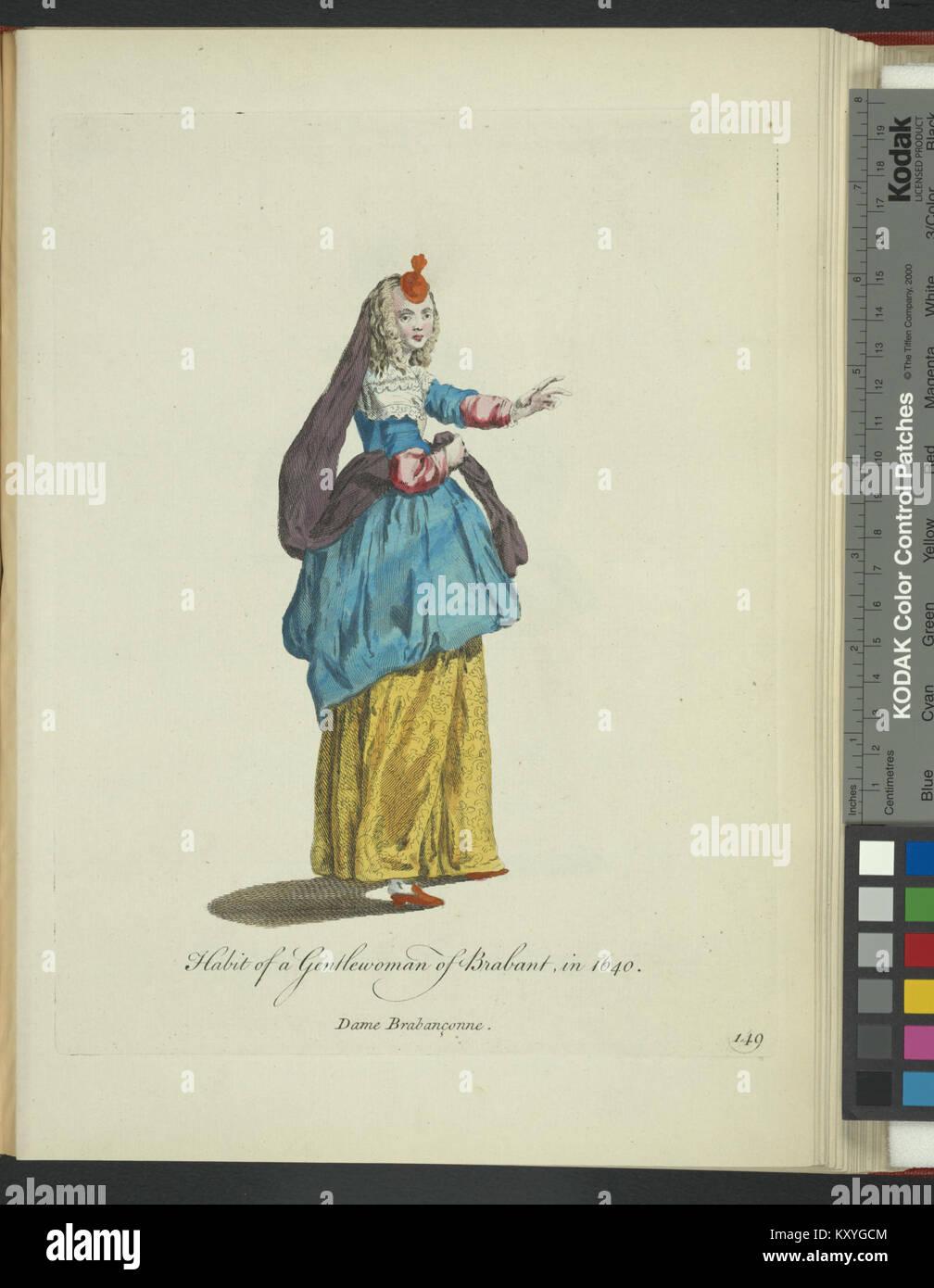 Habit of a gentlewoman of Brabant in 1640. Dame Brabançonne (NYPL  b14140320-1638160