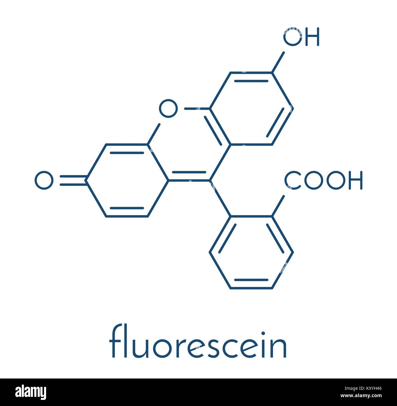 Fluorescein fluorescent molecule. Skeletal formula. - Stock Vector