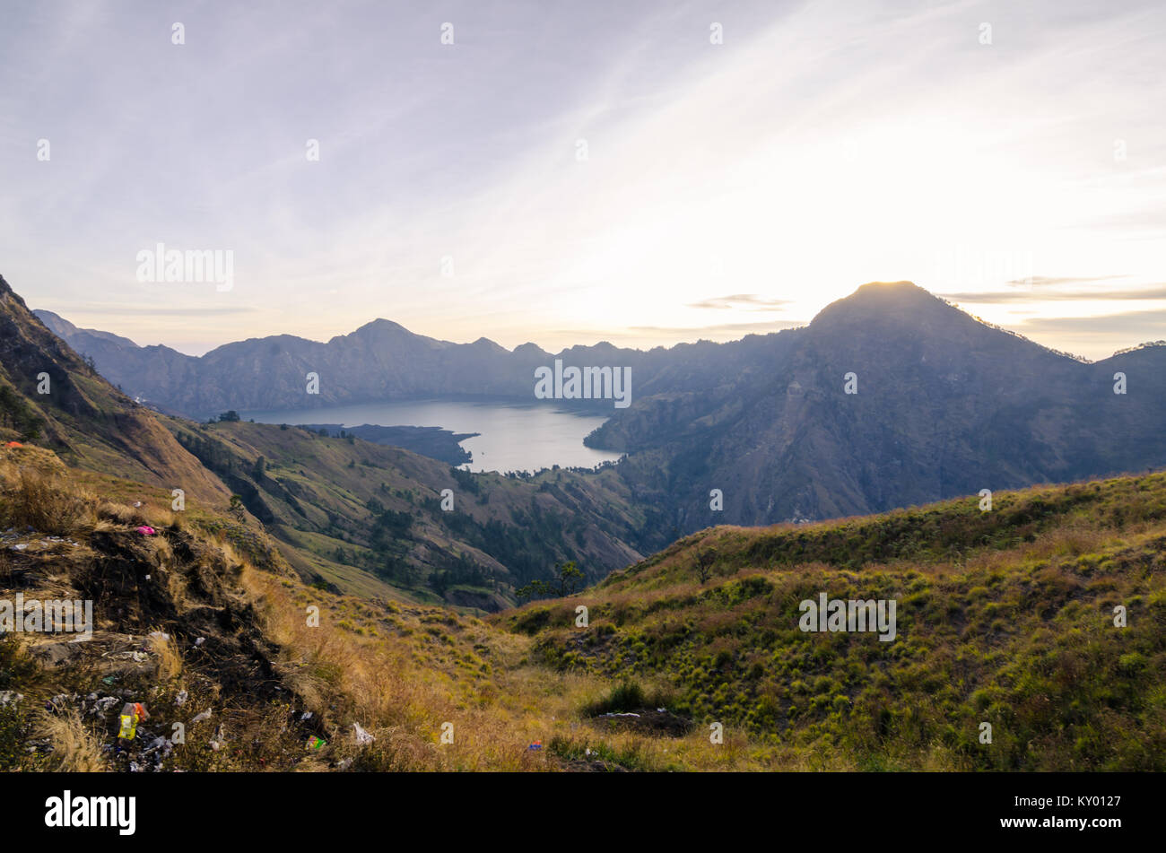 Volcano crater of Mount Rinjani. The mountain is in the Regency of North Lombok, West Nusa Tenggara and rises to - Stock Image