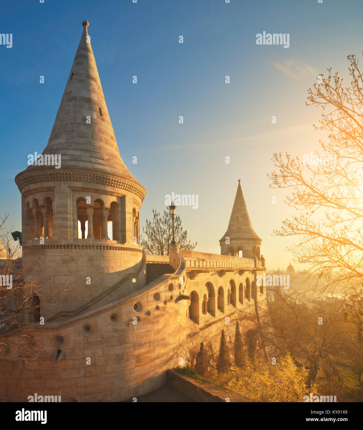 Fishermans Bastion in Budapest, Hungary, on the sunrise. Vertical panorama made. - Stock Image