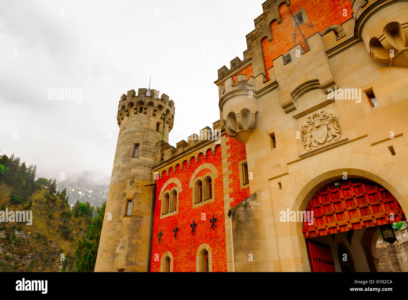 Hohenschwangau, Germany- May 30, 2016:Neuschwanstein Castle is visited by more than 1.3 million people annually, - Stock Image