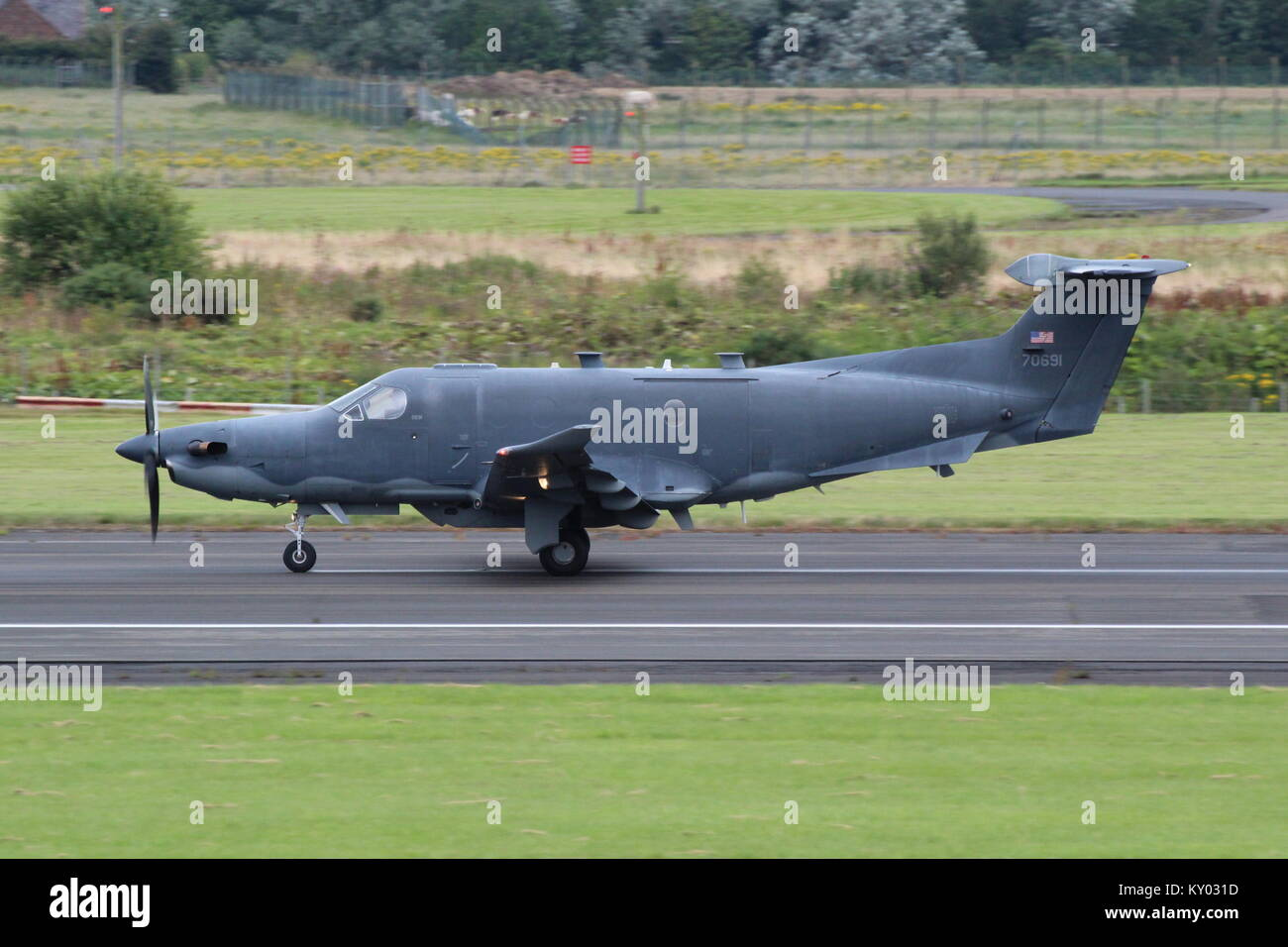 07-0691, a Pilatus U-28A operated by the United States Air Force, at Prestwick International Airport in Ayrshire. Stock Photo