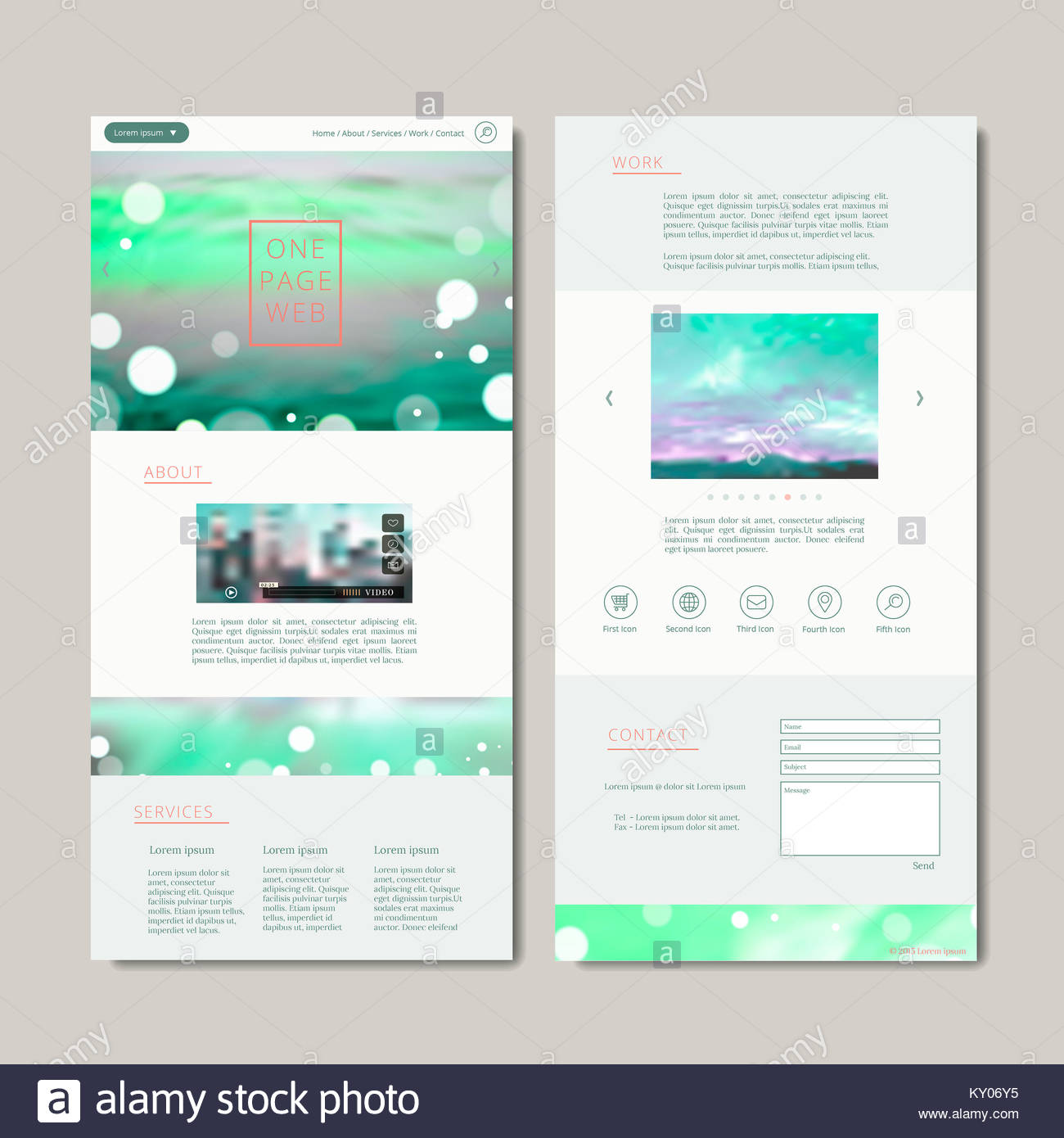elegant one page web design with blurred background Stock Photo ...