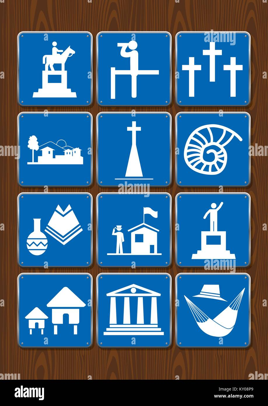 Set icons of monument, viewpoint, cemetery, city, church, fossil, crafts, library, cabins. Icons in blue color on - Stock Vector