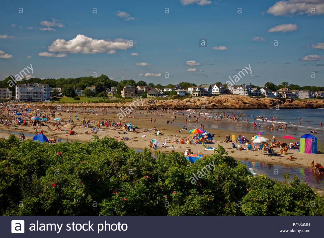 Short Sands beach on a Summer day, York, Maine, USA - Stock Image