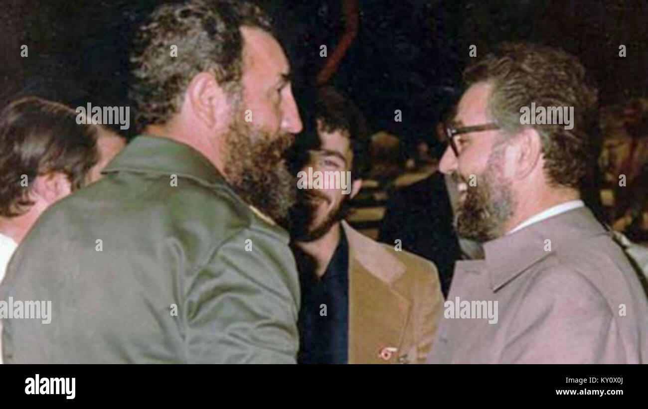 Fidel Castro and Ebrahim Yazdi (As minister of foreign affairs of Iran and first person from Islamic repulic that - Stock Image