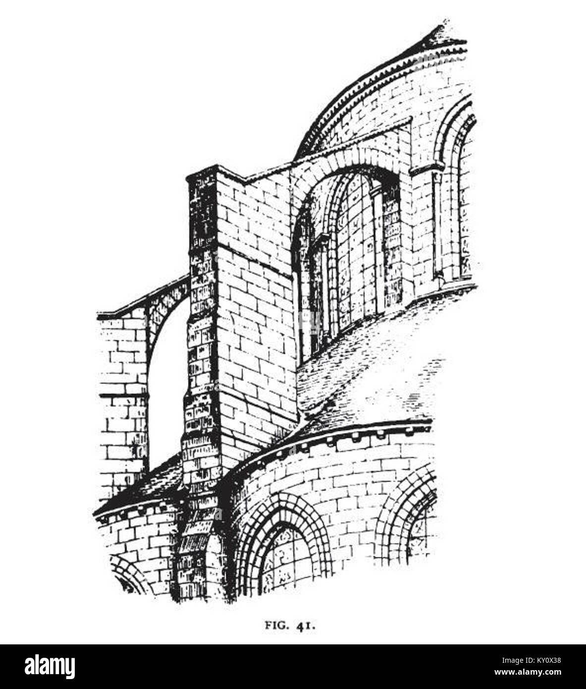 Fig 41 -Flying buttress of the Apse of St. Leu d'esserent Stock Photo