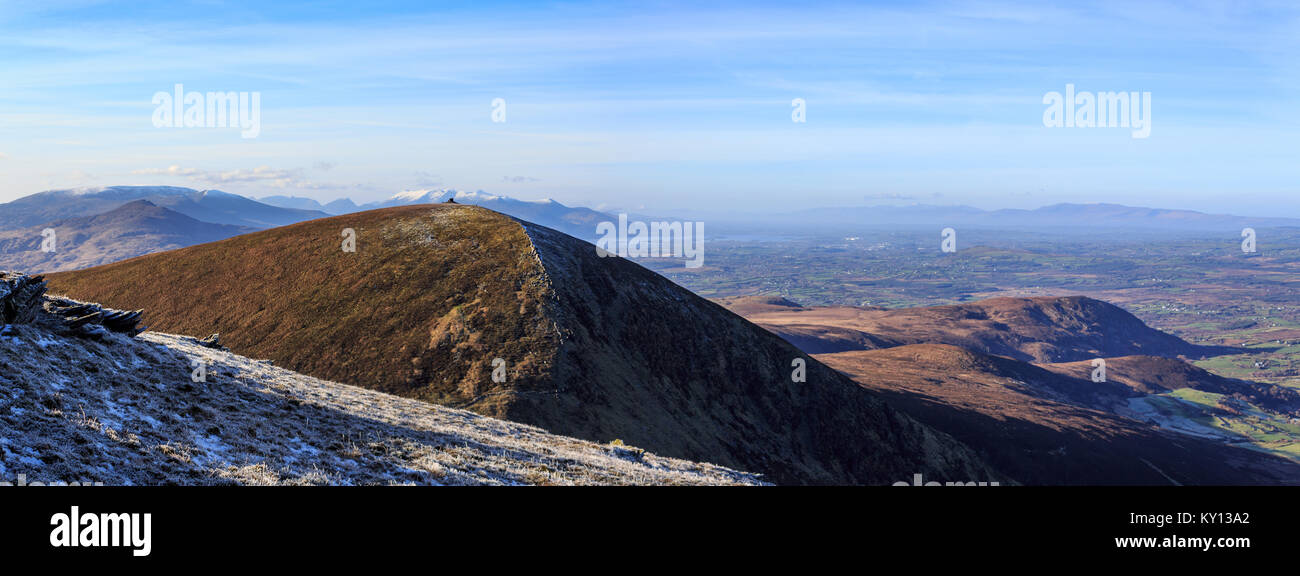 Looking West towards the Western Pap and beyond to the MacGillycuddy Reeks and Killarney in the Derrynasaggart Mountains - Stock Image