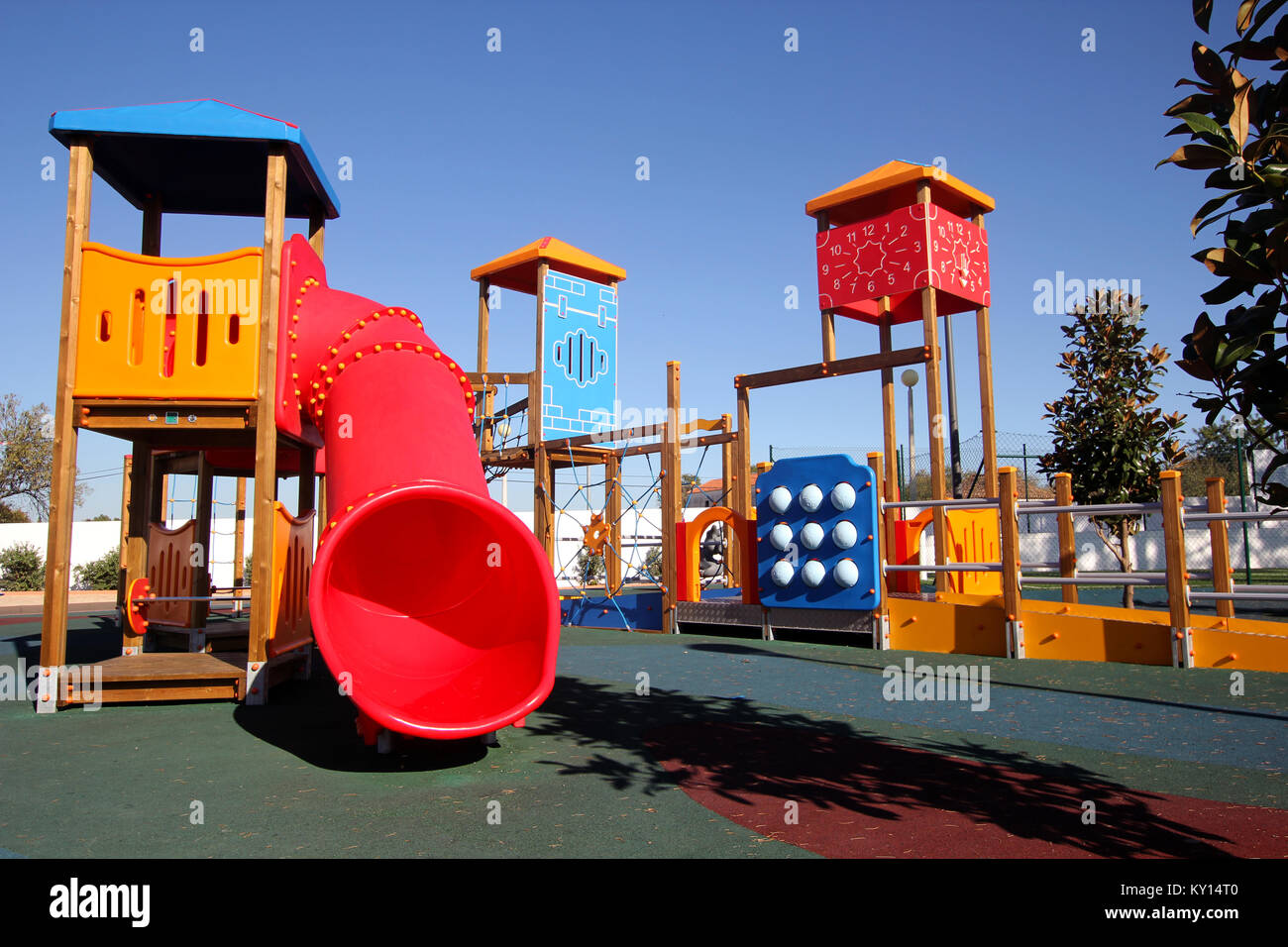 Deserted playground with tunnels, towers, and climbing frames Stock ...