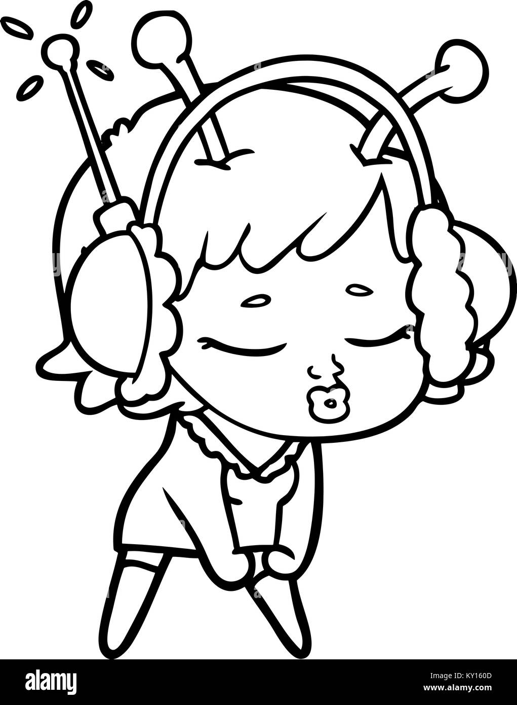 Cartoon Girl Character Listening Music Black and White ...