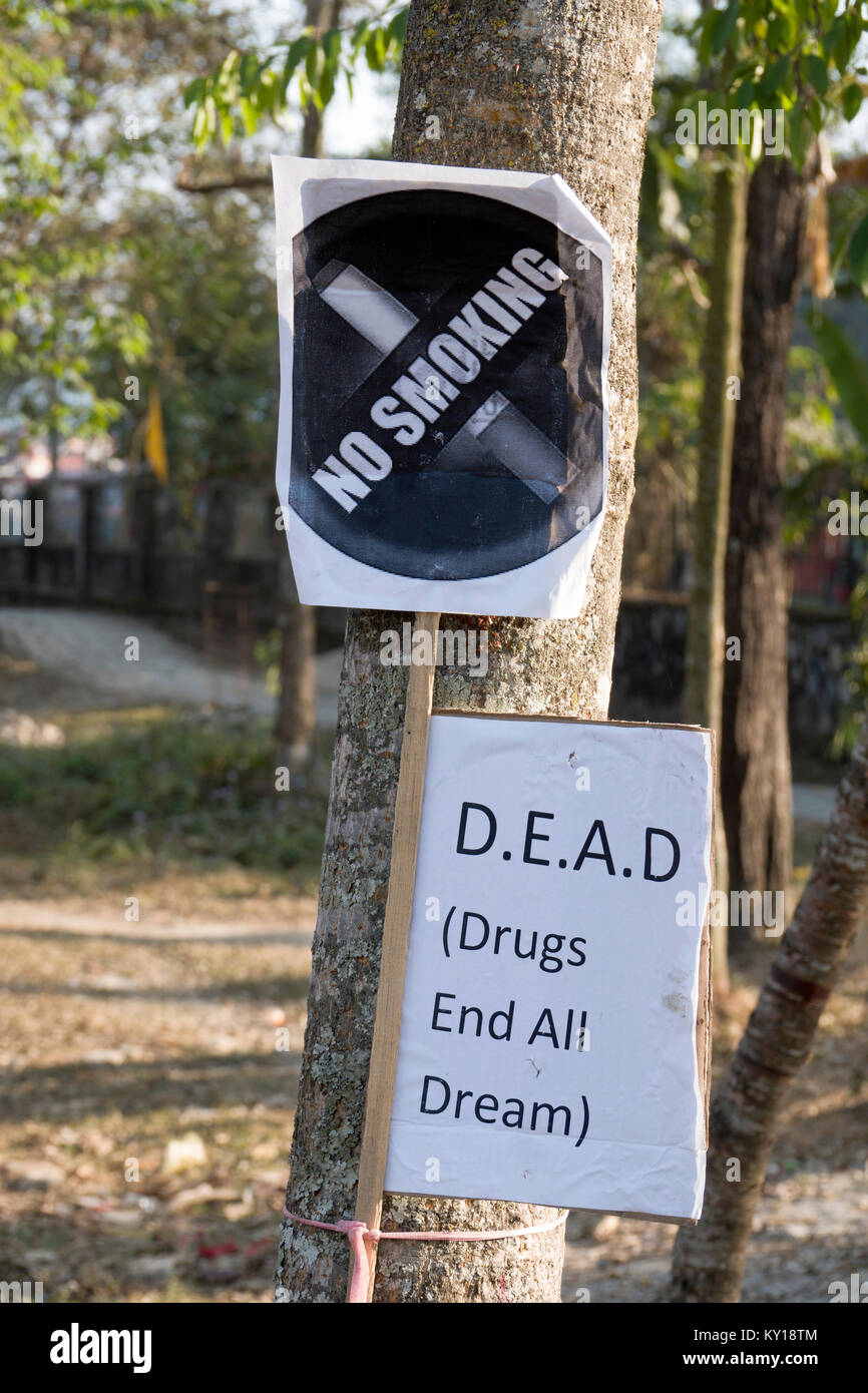 Anti drug and smoking signs in public park, Pokhara, Nepal - Stock Image