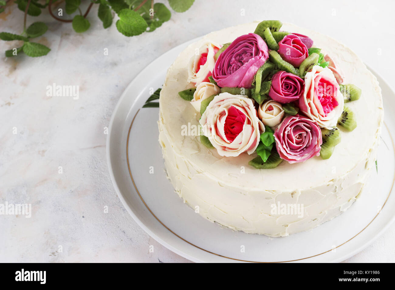 Birthday cake rose flowers stock photos birthday cake rose flowers birthday cake with flowers rose on white background stock image izmirmasajfo