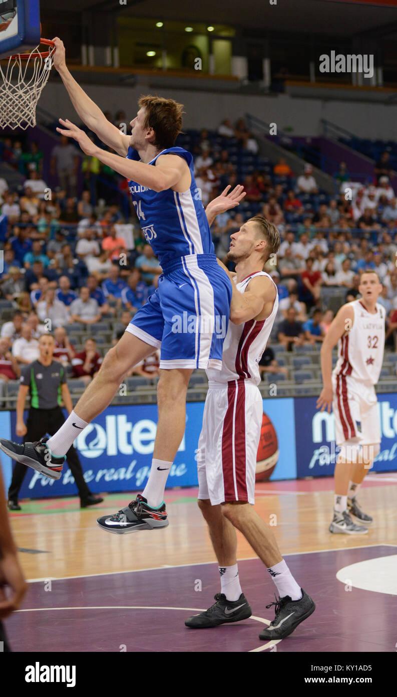 Jan Vesely (Czech Republic) dunking against Latvia - Stock Image