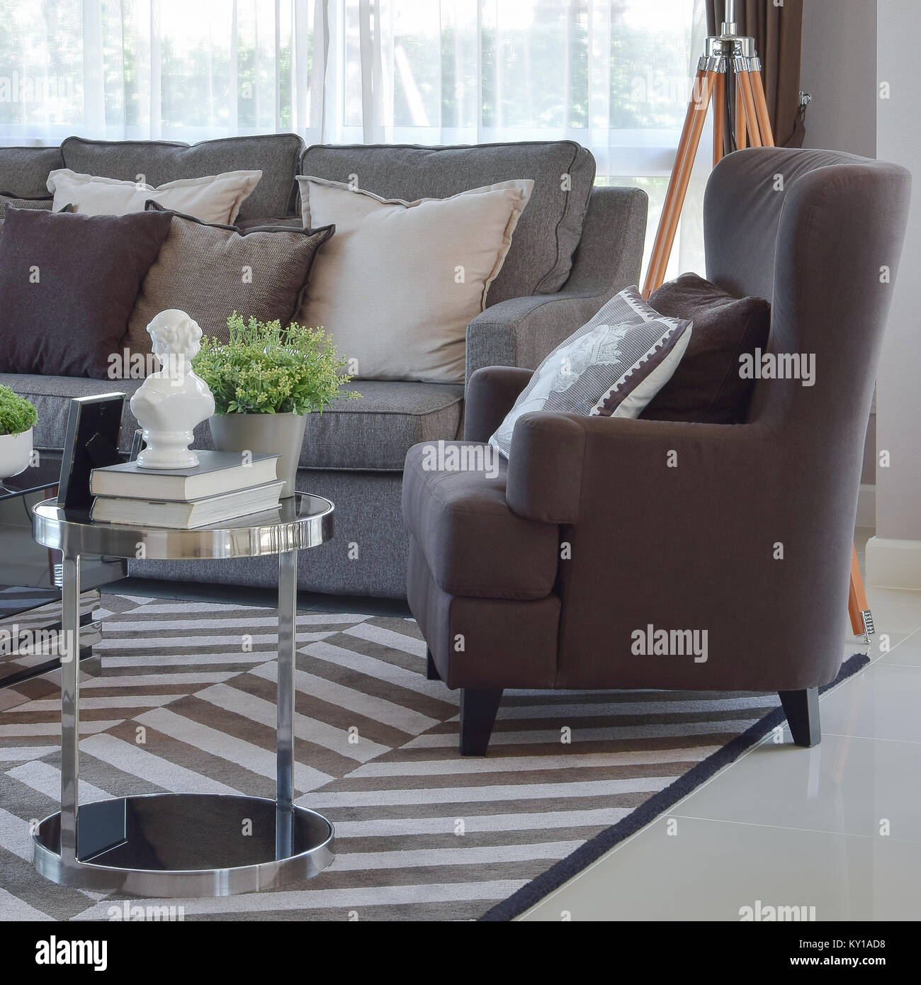 Enjoyable Modern Living Room Design With Tweed Brown Sofa And Armchair Machost Co Dining Chair Design Ideas Machostcouk