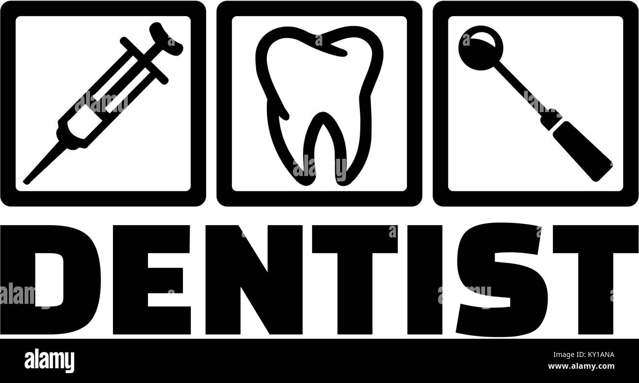 Dentist with dentist tools tooth injection - Stock Image