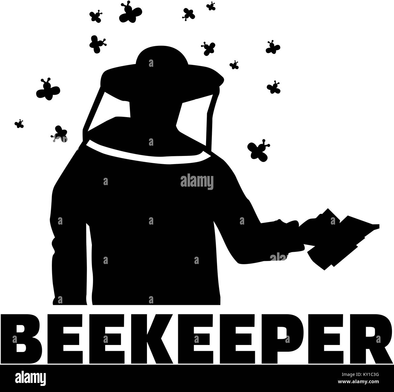 Beekeepter silhouette with bee swarm, bee suit and job title - Stock Image