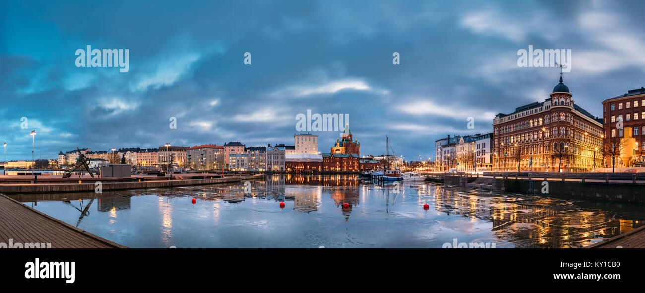 Helsinki, Finland. Panoramic View Of Pier, Embankment On Kanavaranta Street, Uspenski Cathedral And Pohjoisranta - Stock Image