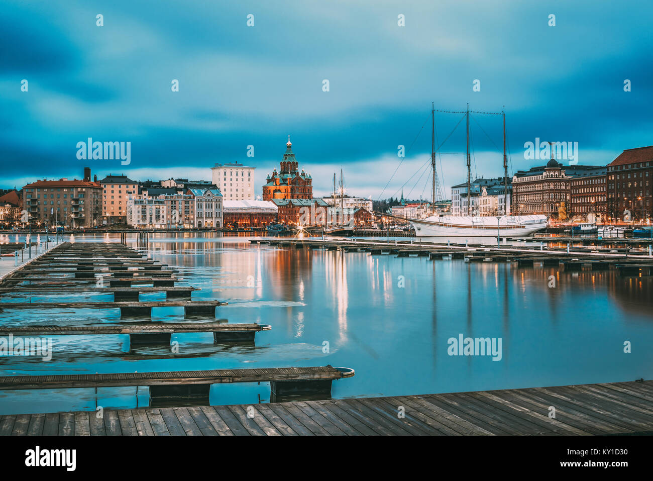 Helsinki, Finland. View Of Evening City And Uspenski Cathedral From Pier. - Stock Image