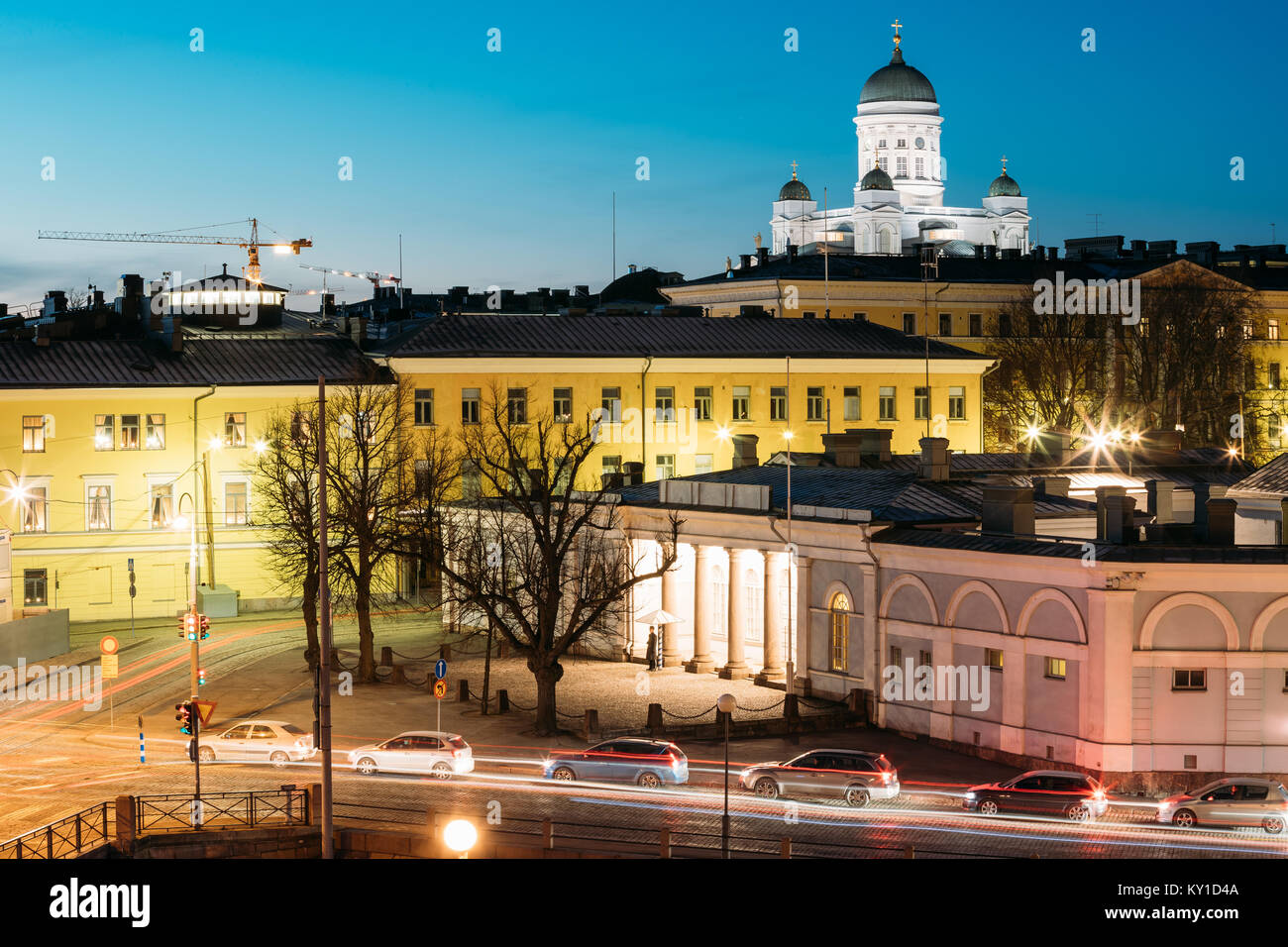 Helsinki, Finland. Night Evening View Of Helsinki Cathedral And Military Prison Building. - Stock Image