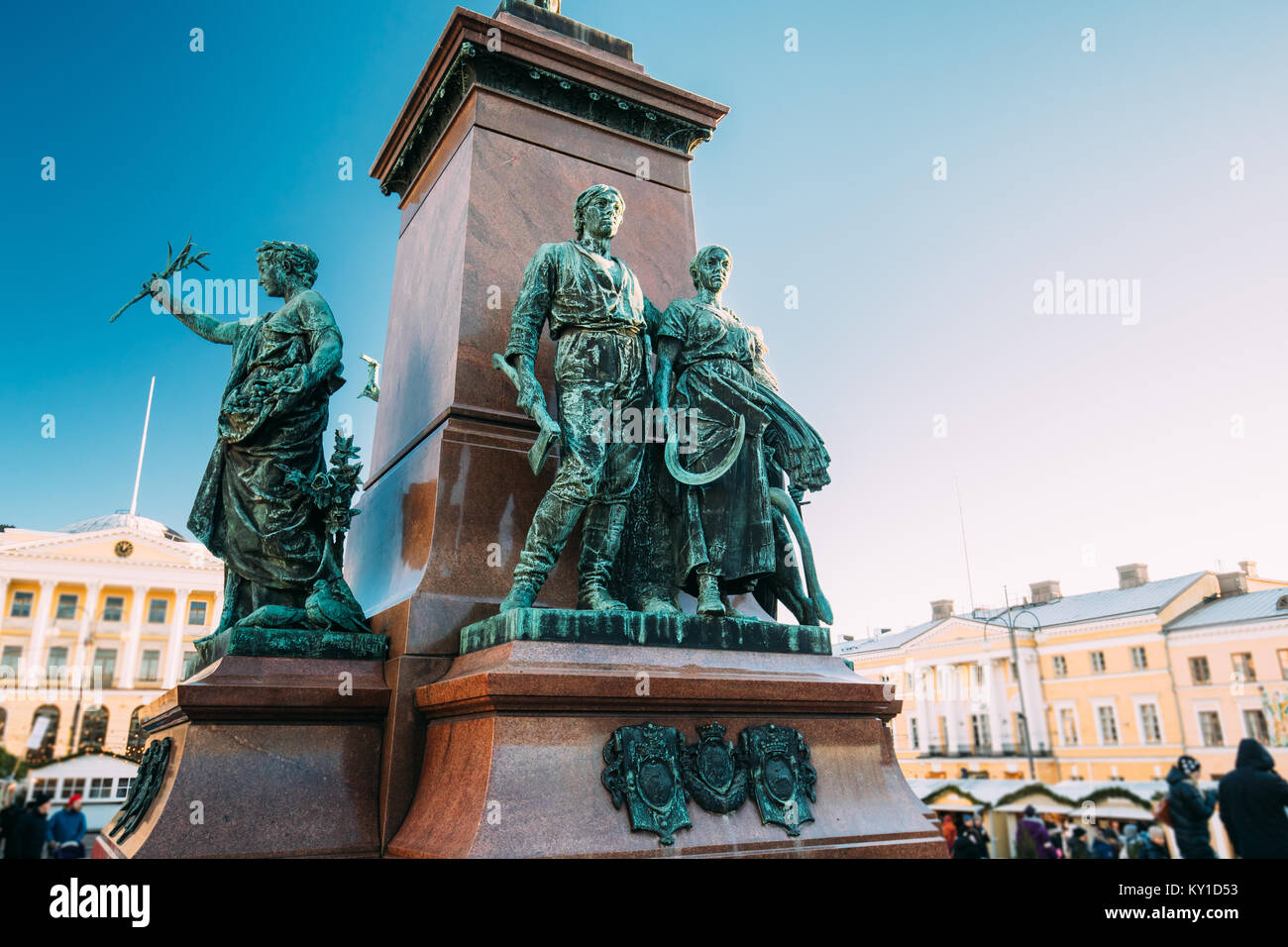Helsinki, Finland. Details Of Famous Landmark In Finnish Capital Is Monument To Russian Emperor Alexander II In - Stock Image