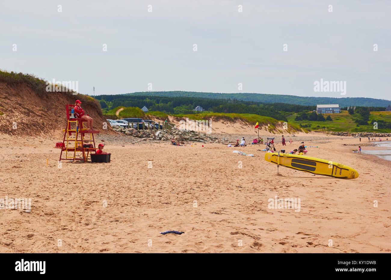 Lifeguards, Inverness beach, Inverness County, Cape Breton Island, Nova Scoatia, Canada. West coast of Cape Breton Stock Photo