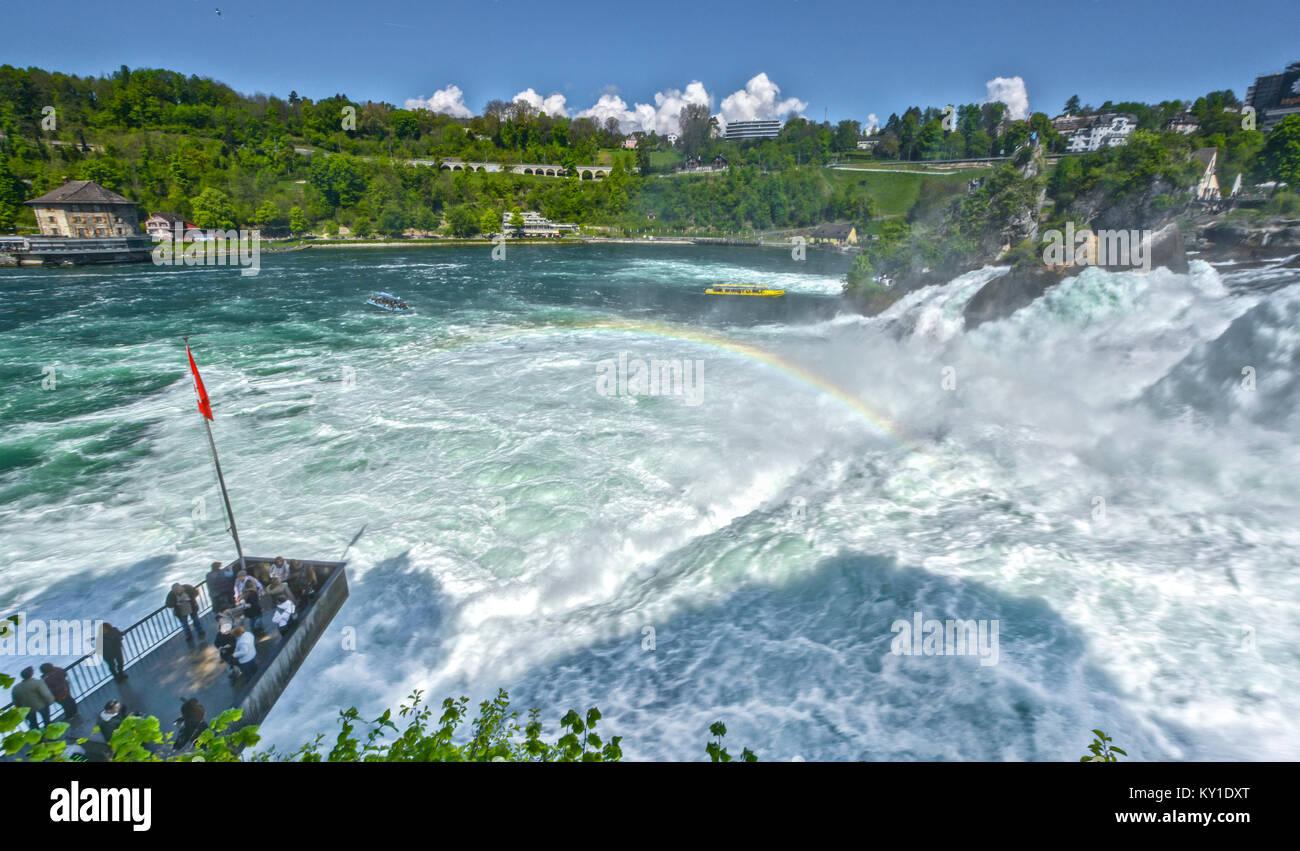 Power of water at Rhein waterfall. Germany - Stock Image