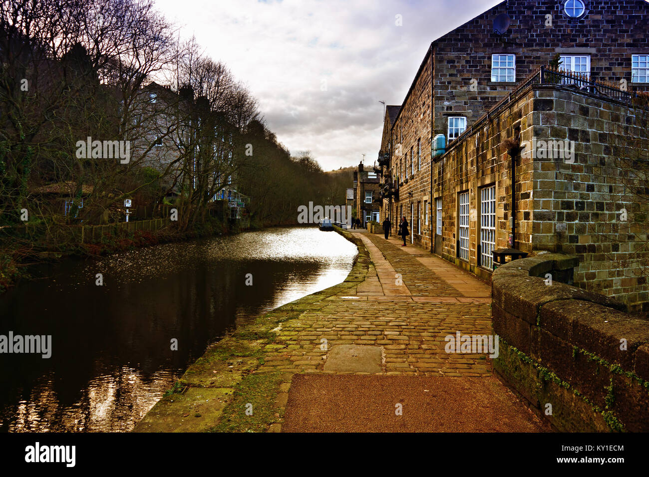 Towpath and barge on the Rochdale Canal at Sowerby Bridge West Yorkshire UK - Stock Image