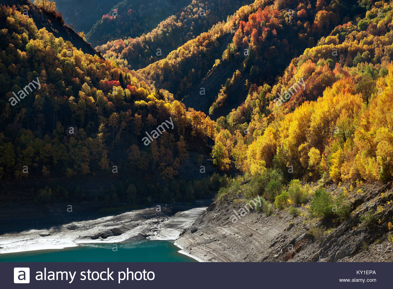 Chambon lake seen from the dam, in Oisans mountain range (France), in October Stock Photo