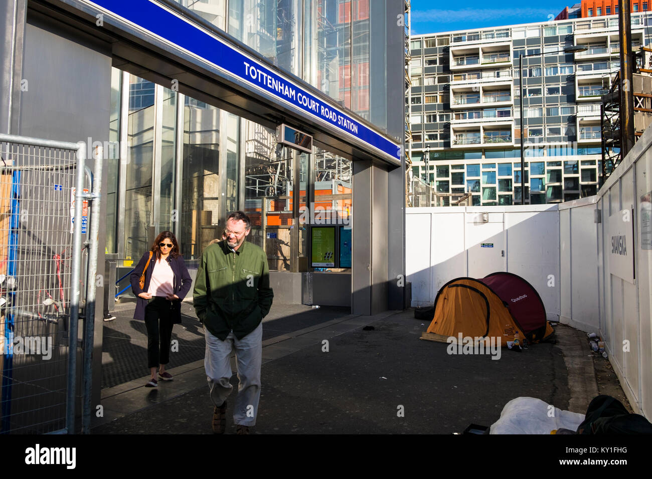 Homelessness outside a London tube station, uk - Stock Image