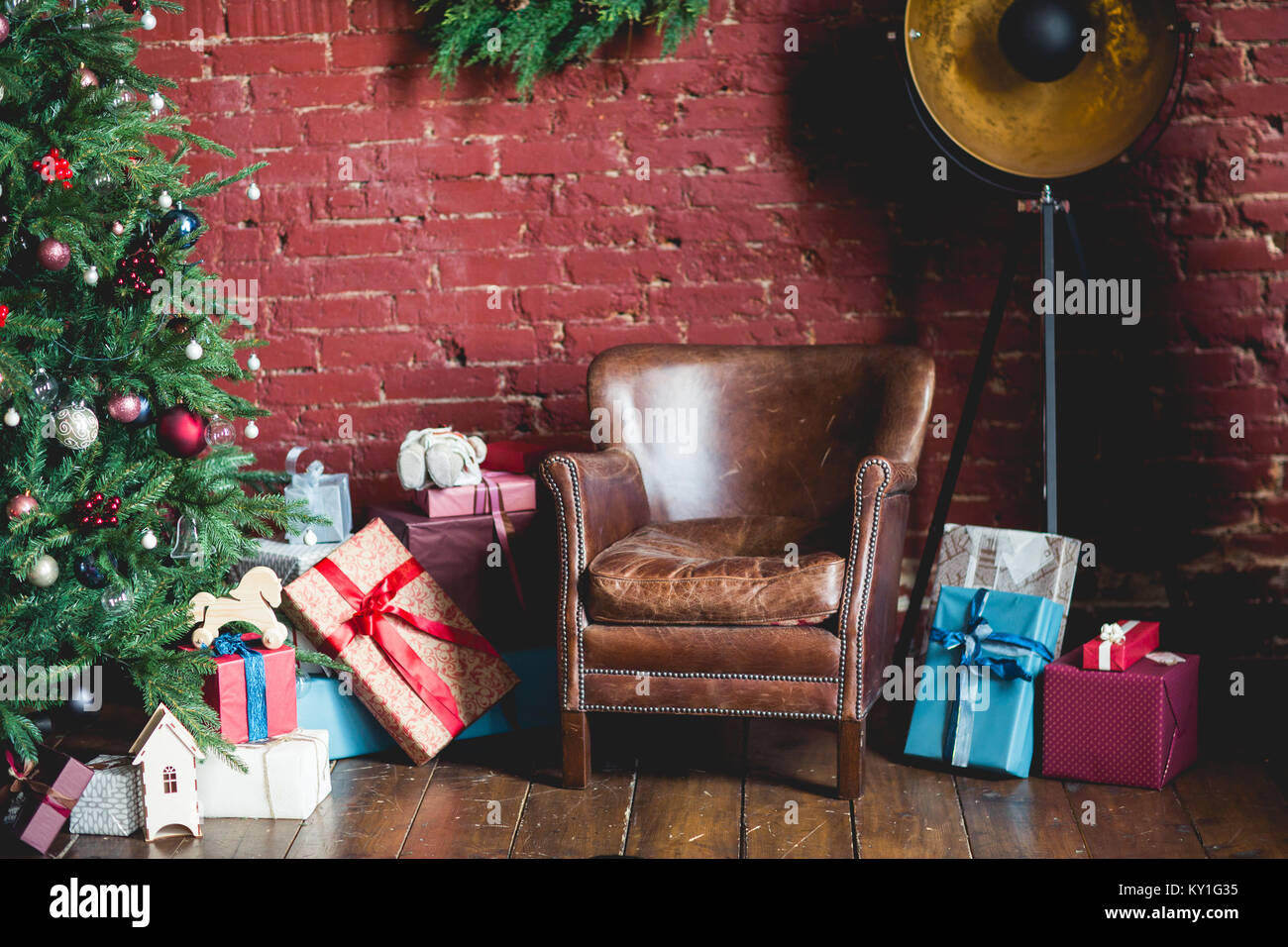 Photo of room with Christmas decorations, spruce with decorations - Stock Image