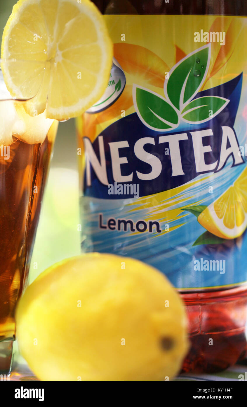 Sofia Bulgaria May 08 2017 Nestea A Refreshing Made With Real Lemon Tea And Natural Flavor Is Brand Of Iced Distributed By Bev