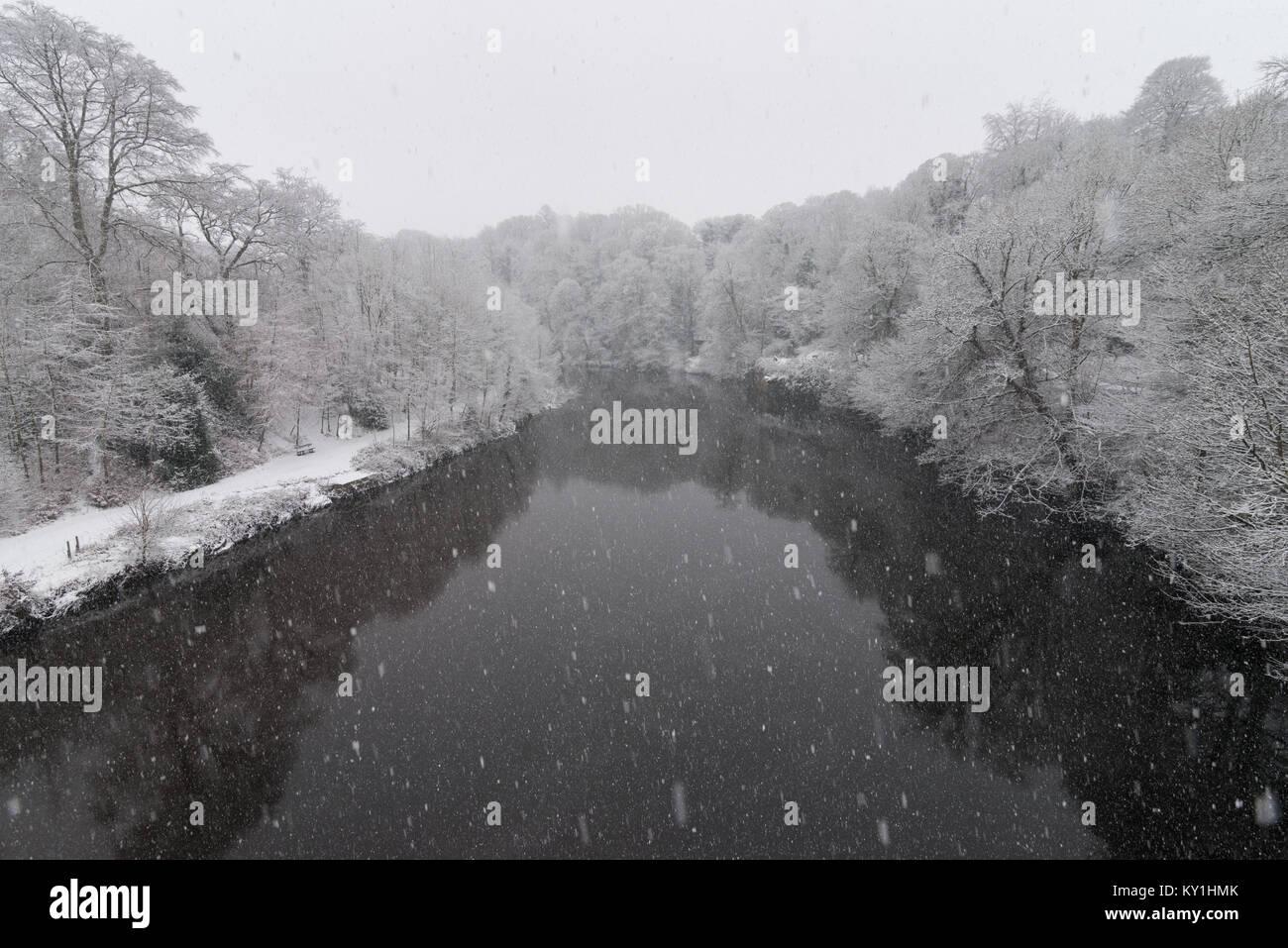 Snowy Durham, UK - Stock Image
