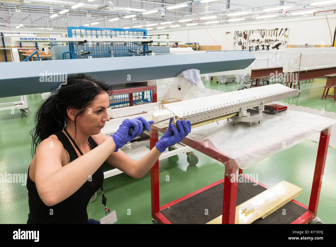 Workers at Kelvin Hughes, specialising in the design and manufacture of navigation and surveillance systems and Stock Photo