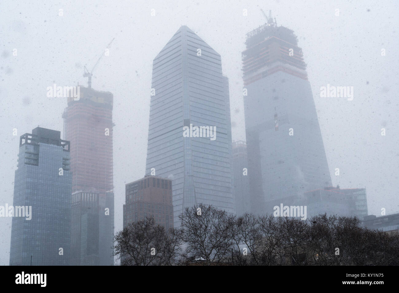 10 Hudson Yards, center, and other Hudson Yards development during a snow event in New York on Saturday, December Stock Photo