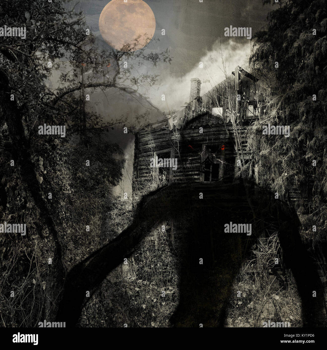 Full moon over the wooden creepy house, evil creatures above, grunge dark halloween background - Stock Image
