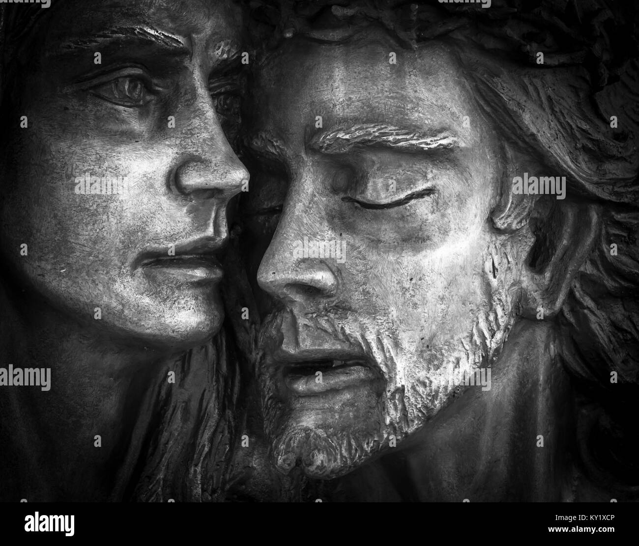 Jesus and Mary. Mother Mary holding her son Jesus. - Stock Image
