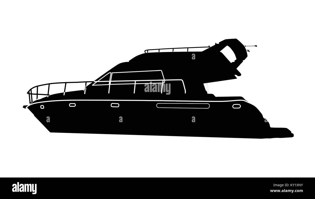 Luxury motorboat silhouette on white background, vector illustration - Stock Image