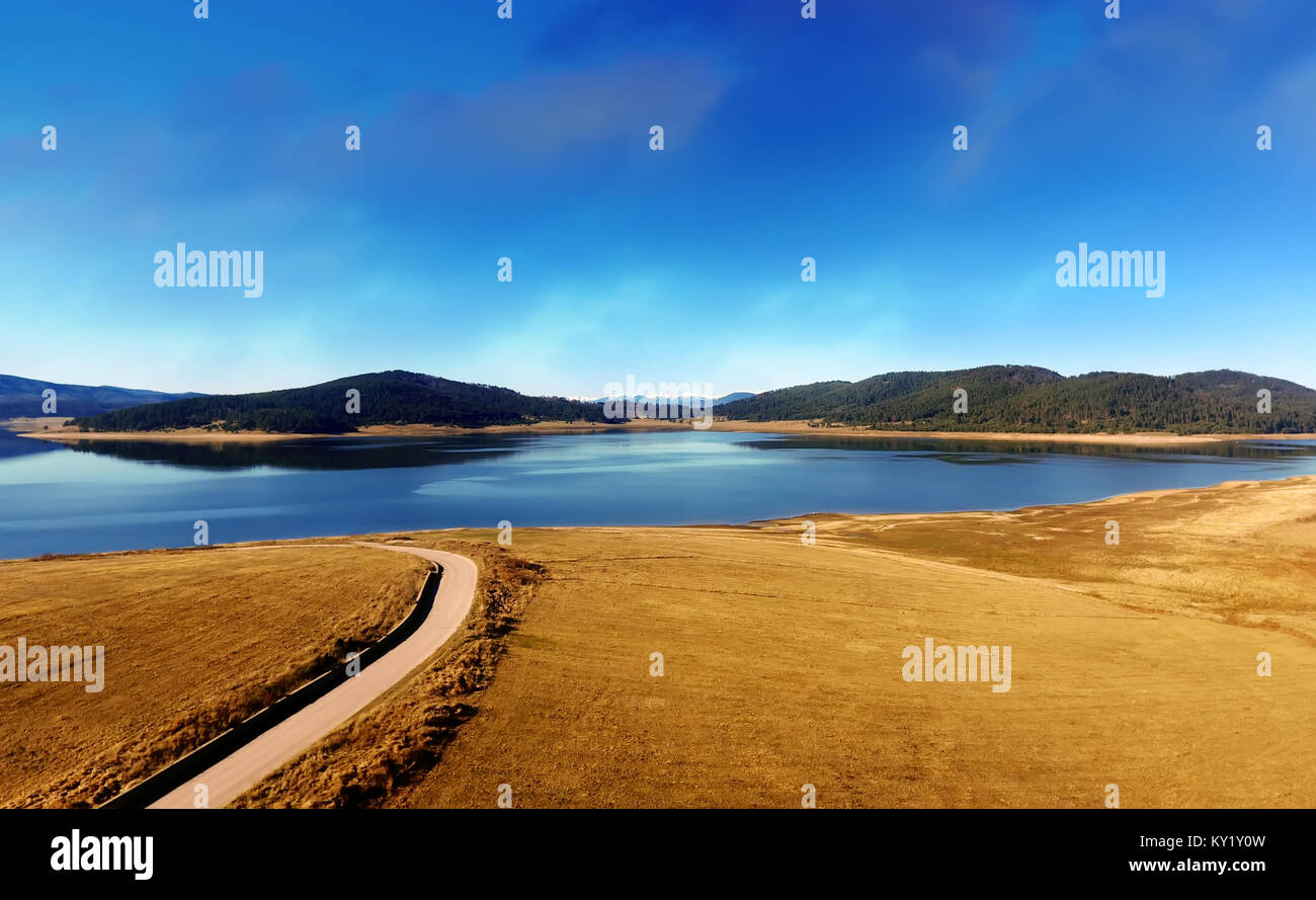 Aerial view lake in the mountains, bulgarian nature, Batak dam lake, drone picture, - Stock Image