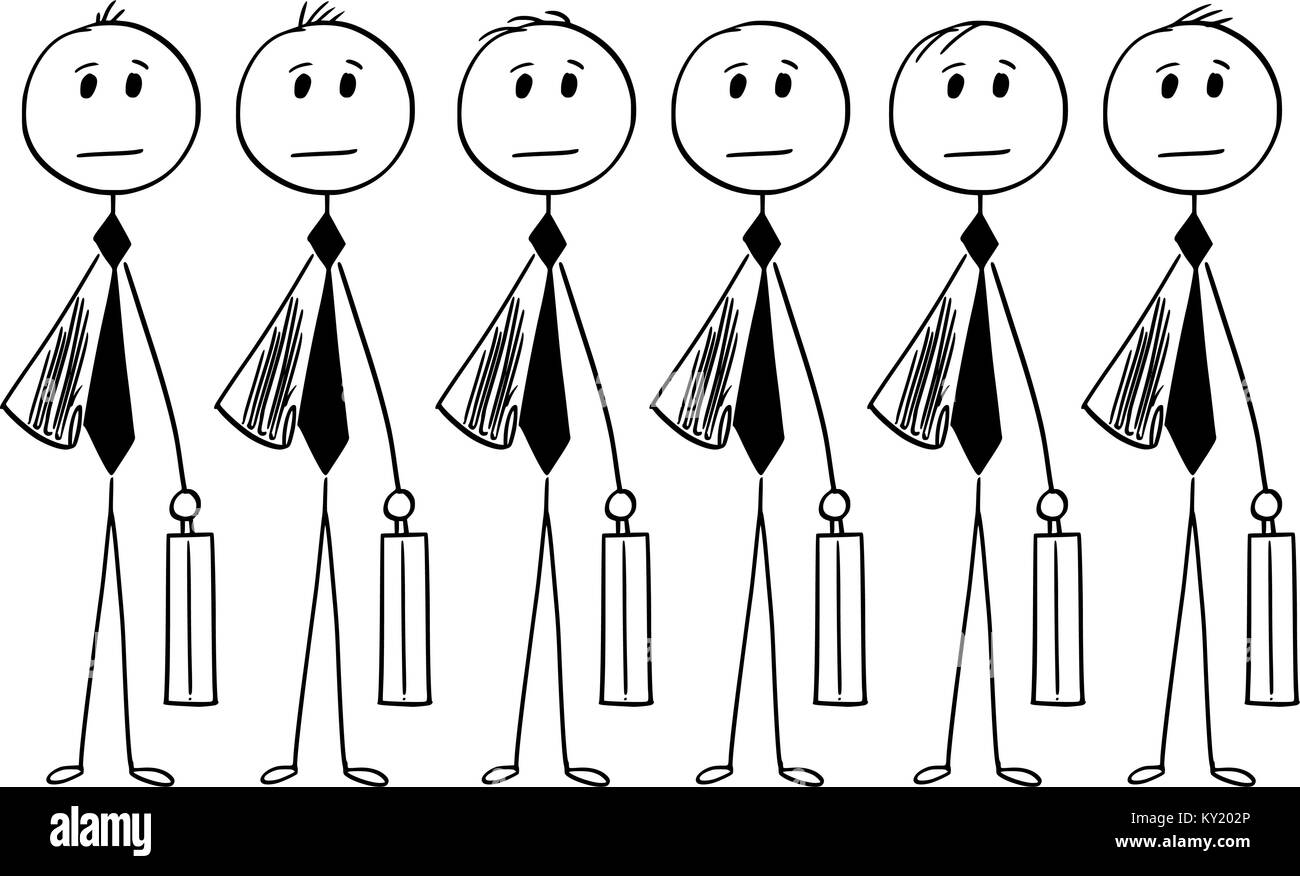 Cartoon stick man drawing conceptual illustration of crowd of identical businessman or clerk clones produced in - Stock Vector