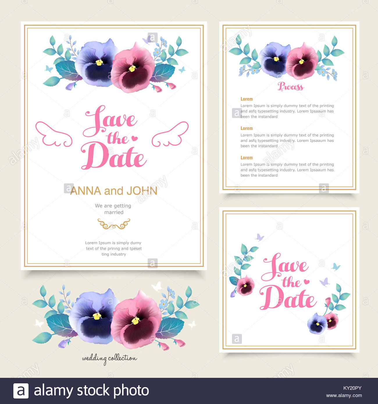 Romantic pansy wedding invitation template design in watercolor romantic pansy wedding invitation template design in watercolor style stopboris Image collections