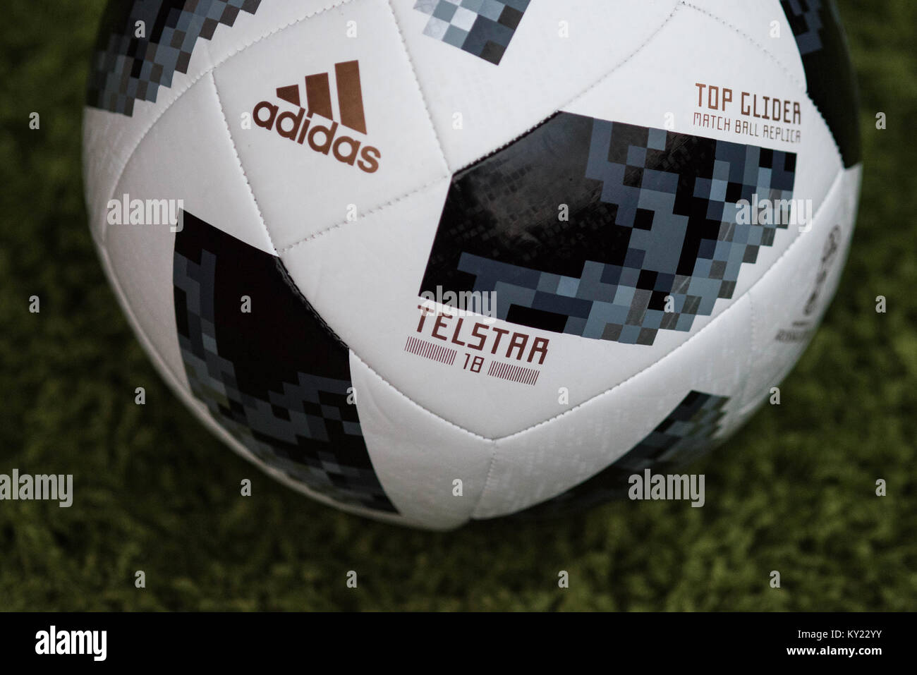 Official Matchball for the FIFA World Cup 2018. Adidas Telstar Football. - Stock Image