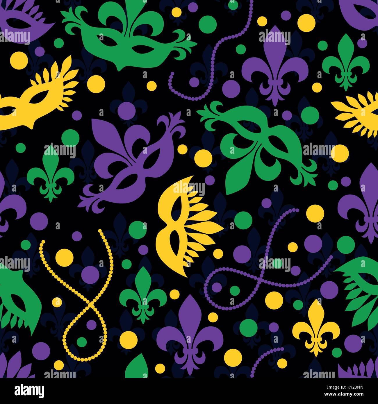 Mardi gras concept seamless pattern. Carnival masks, beads, confetti, fleur de lis. Shrove Tuesday, Fat Tuesday - Stock Vector