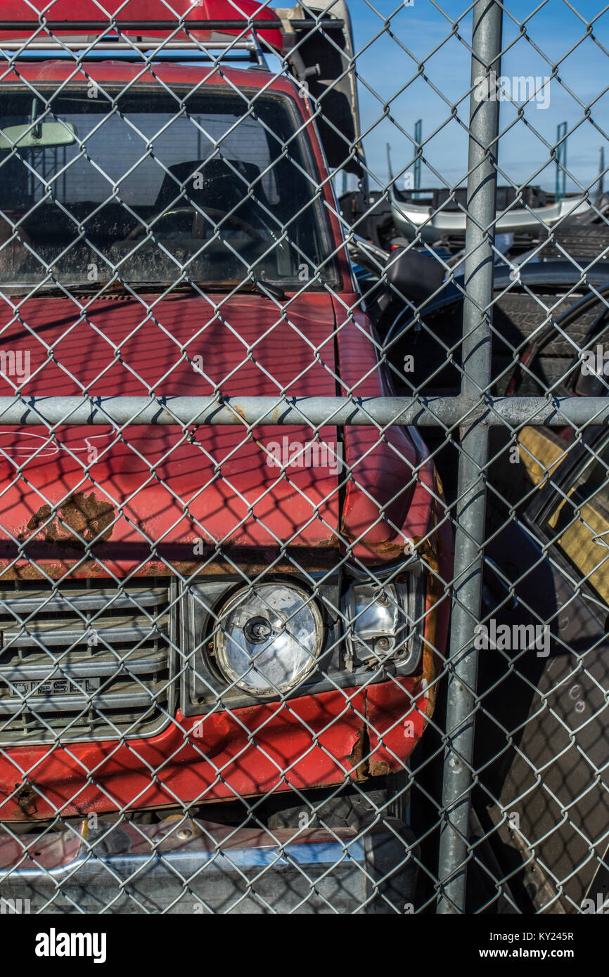 Used cars taken apart and sold sold for parts what doesn't get sold goes to metal recycler. - Stock Image