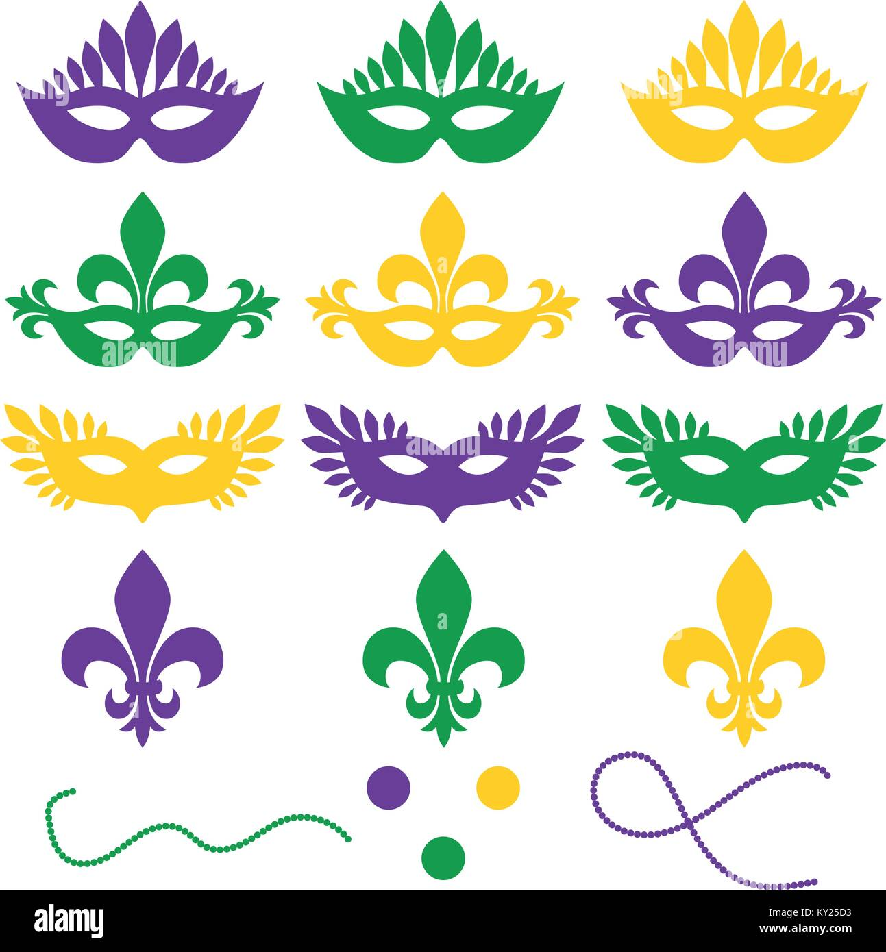 Mardi gras. Set of objects isolated on a white background - masks, beads, confetti, fleur de lis. Shrove Tuesday, - Stock Vector