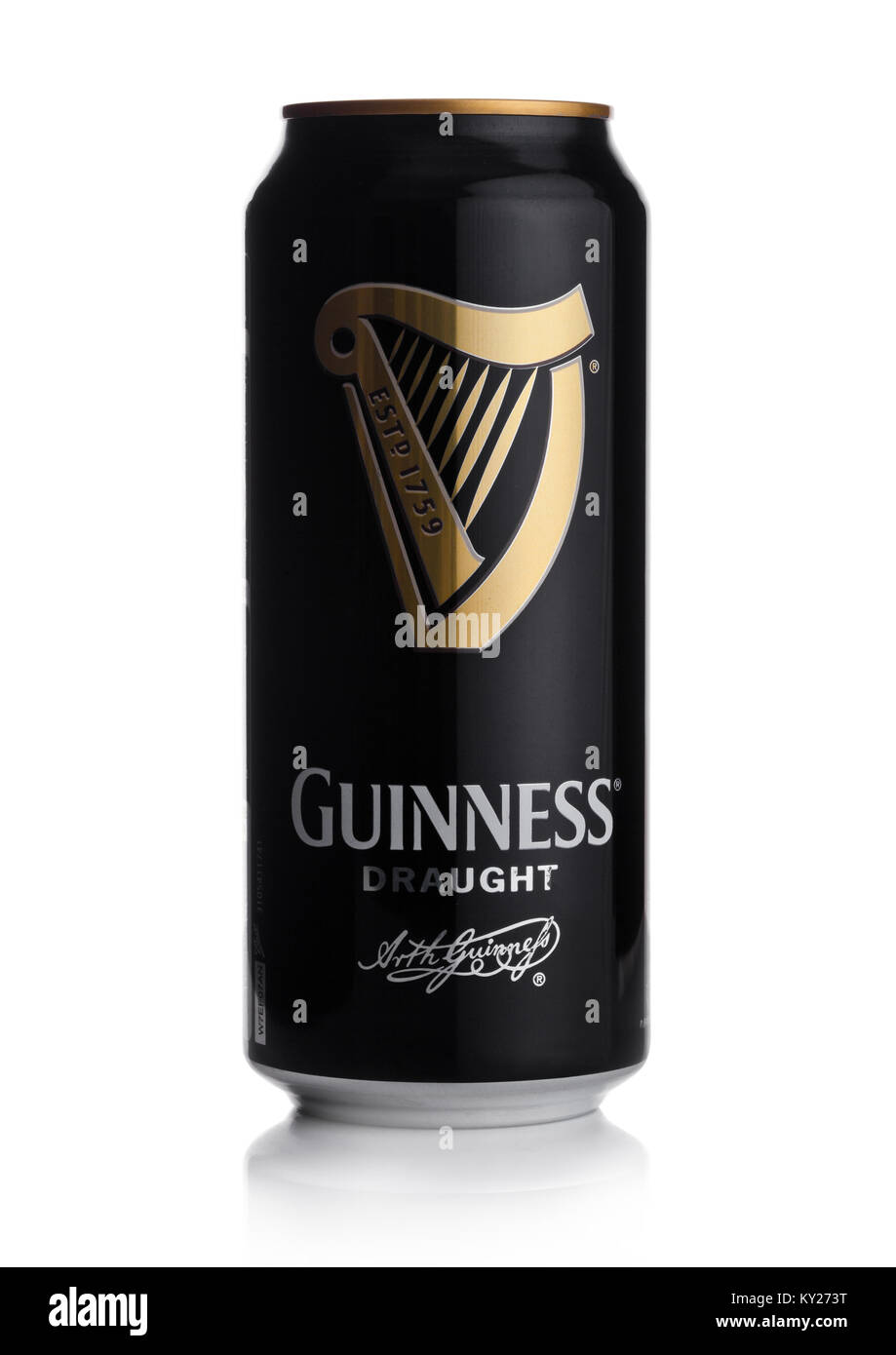 LONDON, UK - JANUARY 02, 2018: Aluminium can of Guinness draught beer on white background. Guinness beer has been - Stock Image