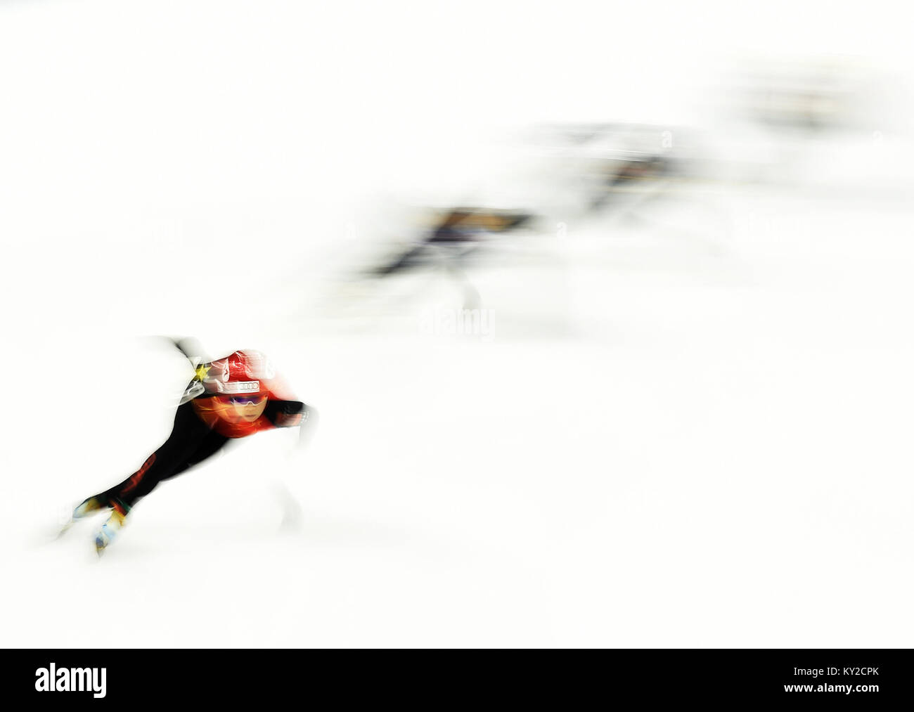 Beijing, China. 9th Nov, 2017. Zhou Yang of China competes during the women's 1500m heats at the ISU World Cup - Stock Image