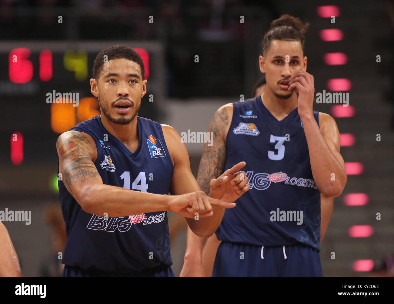 Bonn, Germany, January 11 2018, Basketball, Telekom Baskets Bonn vs Eisbaeren Berlin: Ivan Elliott (Bremerhaven, - Stock Image