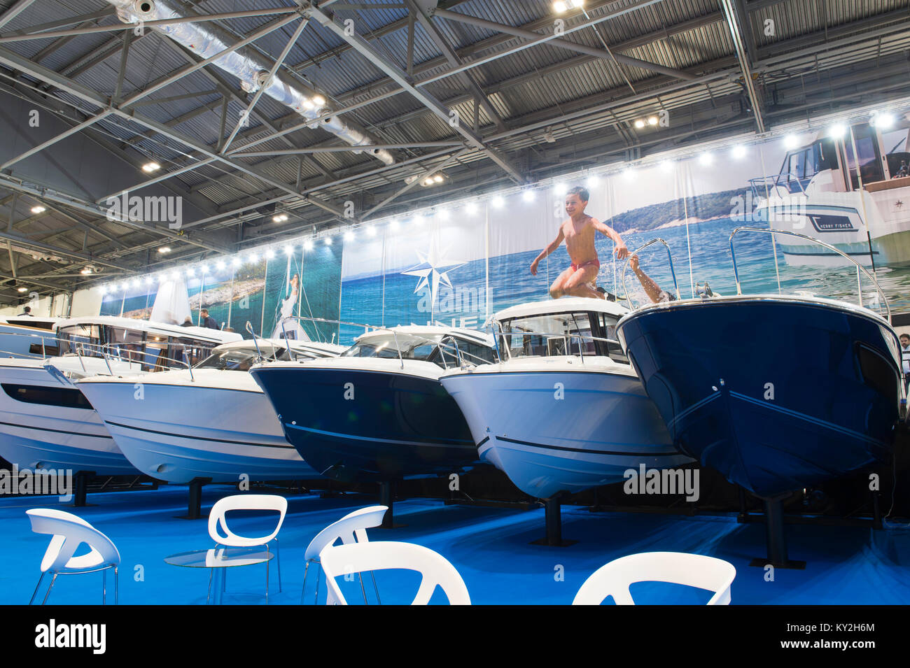 Jeanneau Boats Stand Stock Photos & Jeanneau Boats Stand Stock