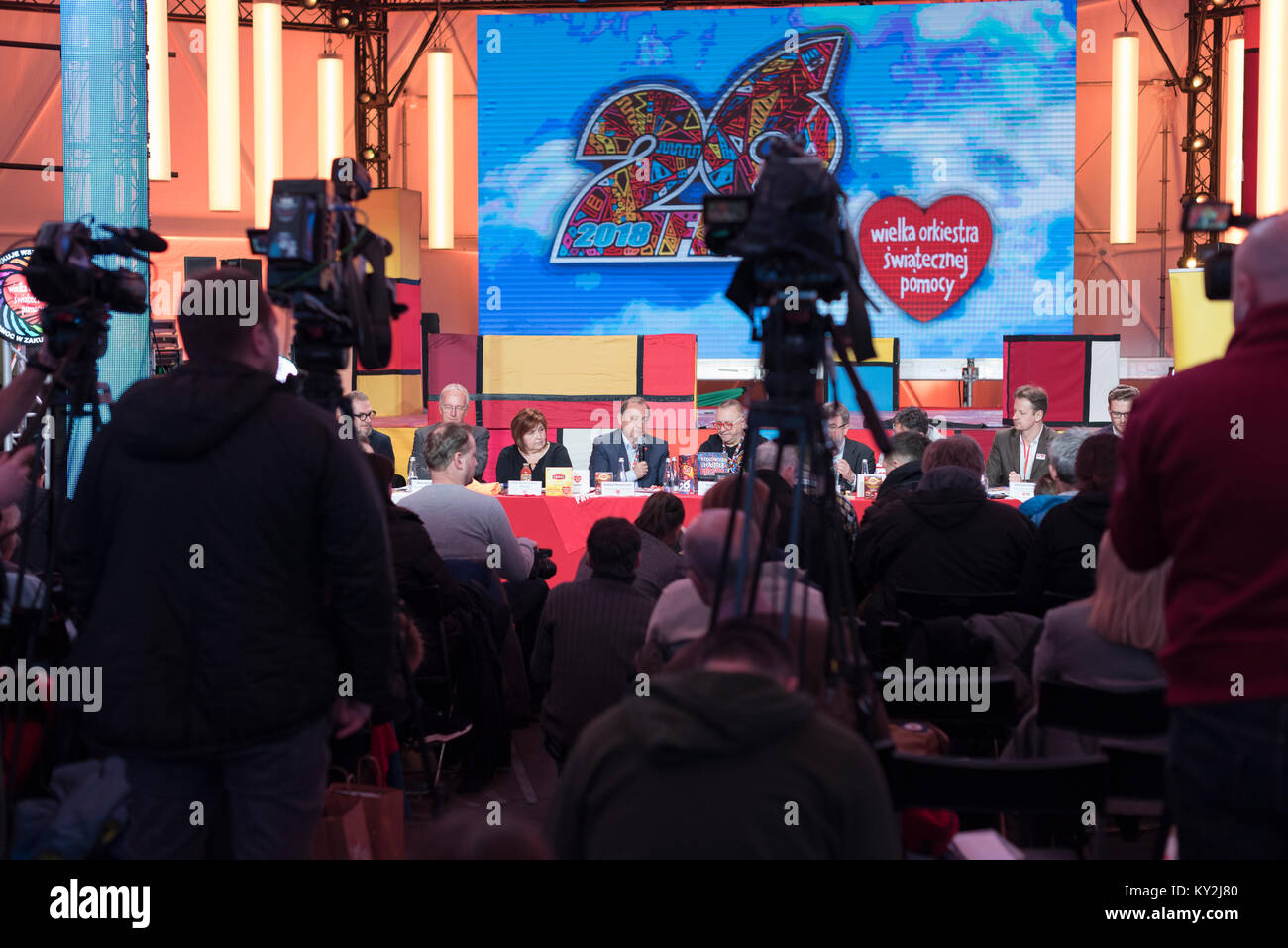 Warsaw, Poland 12th of January 2018. Press conference before the 26th final of the Great Orchestra of Christmas - Stock Image